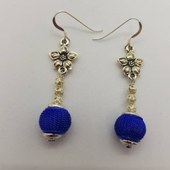 Sterling silver drop flower earrings with ultramarine blue mesh beads