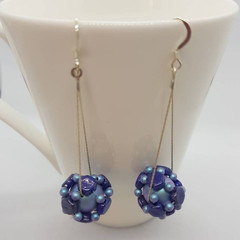 Dainty blue swarovski pearl honeycomb cluster drop earrings