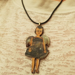 Wooden girl pendant necklace
