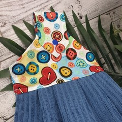 Button Fabric Hand Towel - Stitched Multi Coloured Button Print