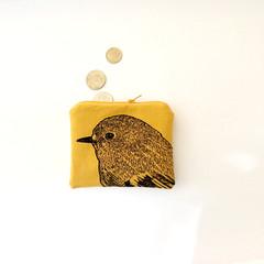 Screen printed robin head coin purse