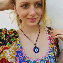 Blue, white and black evil eye pendant necklace