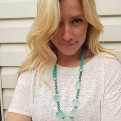 Handmade one-of-a-kind chunky green necklace, Turquoise beads with ice cubes