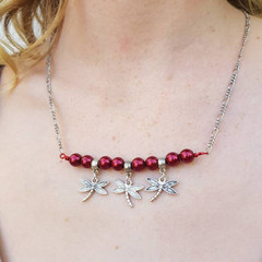 Handmade one of a kind dragonfly necklace with red glass pearls on silver chain
