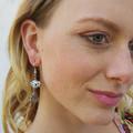 Silver buddha charm earrings dangling from glass pandora style beads.
