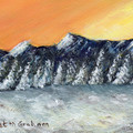 Snowy Mountains ACEO, Original Miniature Acrylic Landscape painting