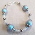 Delicate blue and white Swarovski pearl bracelet