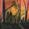 Sunset Forest,  Original Landscape Painting, Original Acrylic Painting