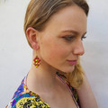Gold plated red and gold honeycomb hanging earrings with gold plated hooks