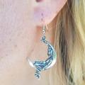 Antique sterling silver moon pendant earrings