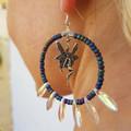 Handmade iridescent Pixie fairy dangle hoop earrings