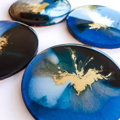 10cm blue turquoise white and gold resin art coasters