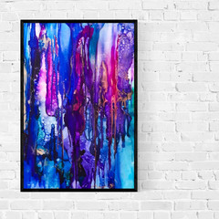 Original Alcohol Ink artwork | large scale art | rainbow rain