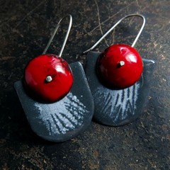 Ruby red and grey enamel dangle earrings