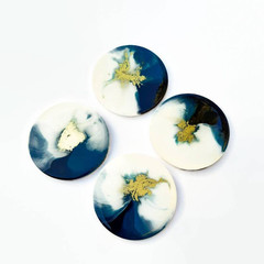 10cm turquoise, white and gold Resin coasters |