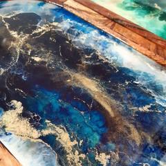Ocean Resin art acacia wood tray