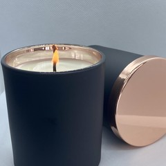 100% Soy Wax Candle | Black & Rose Gold Jar | Bergamot & Patchouli