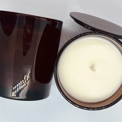 100% Soy Wax Hand Poured Scented Candle | Amber Jar | Bergamot & Sweet Patchouli