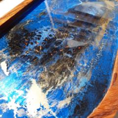 Blue black and gold Resin art acacia wood tray