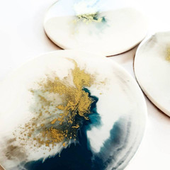 10cm white turquoise and gold resin art coasters