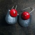 Ruby red and grey enamel dangle earrings