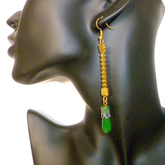 Chrysoprase and enamel gold earrings