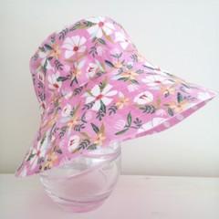 Girls wide brim summer hat in pretty floral fabric