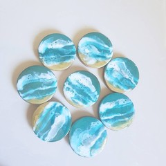 OCEAN WAVES | Coasters | Resin Coasters | Ocean Resin Coasters | Drink Coasters