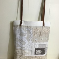 Lacey Tote, Project Bag, Market Bag, Vintage Lace
