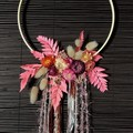 Boho Autumn - Natural floral wooden hoop - Boho chic - Pinky wall decoration