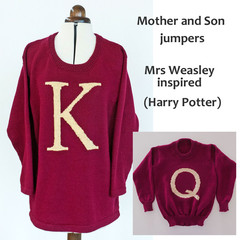 Knitted child's jumper, (adult jumper can be ordered.) hand embroidered letter