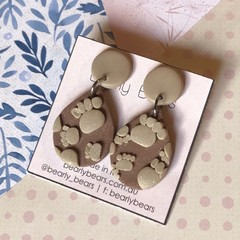 Paw print drop earrings