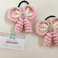 Hair Bow / Elastic / Ponytail/ Pink Diamonds / Princess