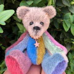 Zib - a multi-coloured miniature bear, adult collectible