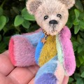Zib - a multi-coloured miniature bear, adult collectible