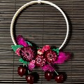 Ma petite Cherry - Floral hoop wreath - Fruity wall decoration - Small hoop