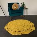 Sunshine  Yellow Crochet floor rug free postage