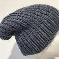 Knitted blue slouchy beanie mens or ladies merino knitted