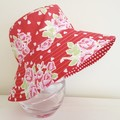 Girls summer hat in red floral fabric