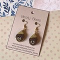 Gold earrings with teddy bear
