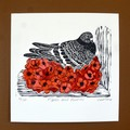 Pigeon and poppies linocut print / Patriotic Pigeon / Remembrance Day