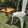 Outdoor snack and wine table chair height for multiple outdoor use,