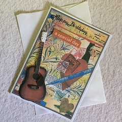 Birthday Card with a Guitar, Music, Pen, Writing and Flourishes