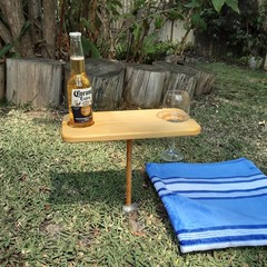 Mini portable wooden snack and drink  picnic table for beach, camping, caravan.