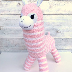 'Amber' the Sock Alpaca - pink & white stripes  - *READY TO POST*