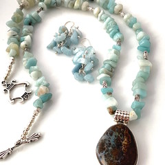 Natural BOULDER OPAL Sterling Silver Pendant on AMAZONITE Necklace & Earrings.