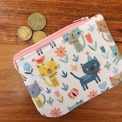 Coin purse - Cats in the Garden