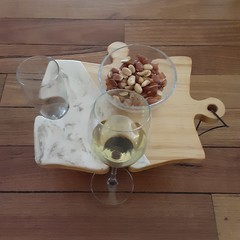 Jigsaw pine wood and resin art personal snack and wine tray.