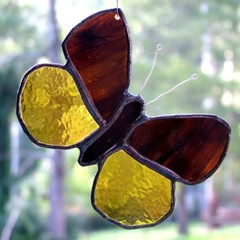 Butterfly Stained Glass Suncatcher in Wispy Brown and Amber
