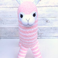 'Amber' the Sock Alpaca - pink & white stripes  - *MADE TO ORDER*